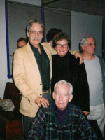 GB, Gill Collins, Jamie Reid. John Newlove sitting. John was doing his last Vancouver reading.